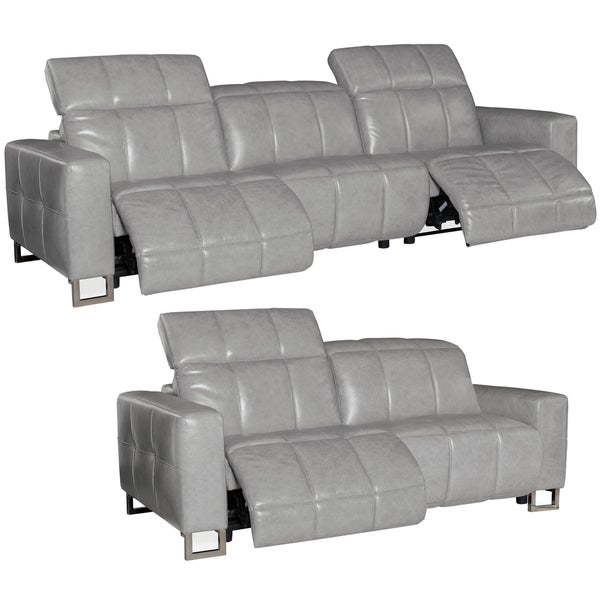 Bombay Grey Top Grain Leather Power Reclining Sofa and Loveseat