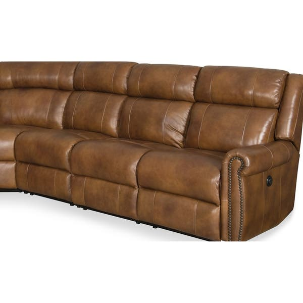 Admirable Shop Omnia Brown Top Grain Leather Power Reclining Sectional Bralicious Painted Fabric Chair Ideas Braliciousco