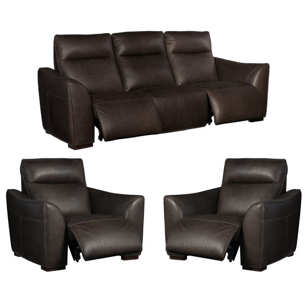 Union Charcoal/Black Leather Power Reclining Sofa and Two Chairs