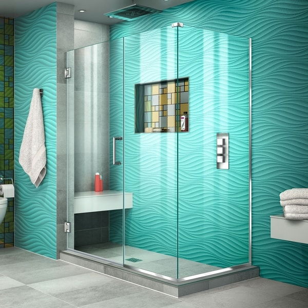 "DreamLine Unidoor Plus 46 1/2 in. W x 34 3/8 in. D x 72 in. H Frameless Hinged Shower Enclosure - 34.38"" x 46.5"""