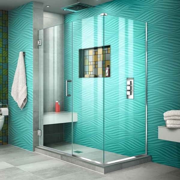"DreamLine Unidoor Plus 49 1/2 in. W x 34 3/8 in. D x 72 in. H Frameless Hinged Shower Enclosure - 34.38"" x 49.5"""