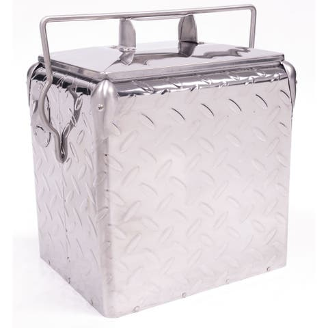 Creative Outdoor Retro 13L Cooler, Metallic Diamond Plate Silver