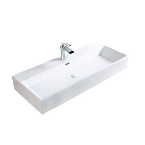 A&E Bath and Shower Sulu Oval Undermount Ceramic Sink White