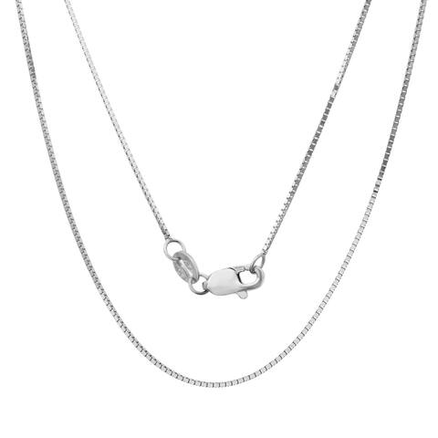 14k White Gold .75 mm Box Chain (16-24 )