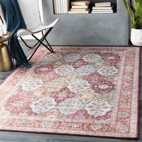 The Curated Nomad Lessingia Vintage Diamond Trellis Area Rug