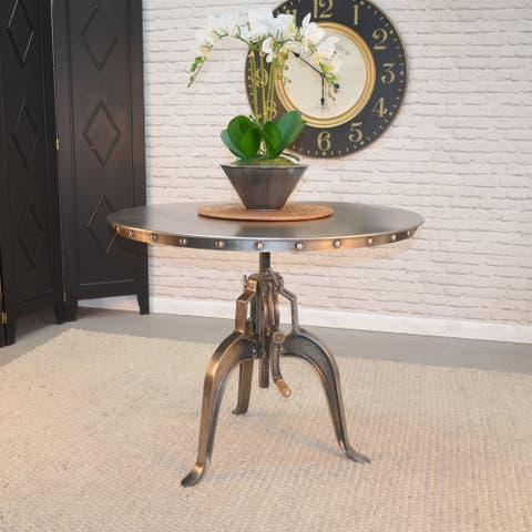 Carson Carrington Banner Antique Nickle Adjustable Crank Table