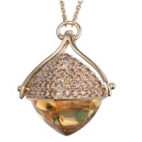 Citrine and Diamond 28-inch Necklace
