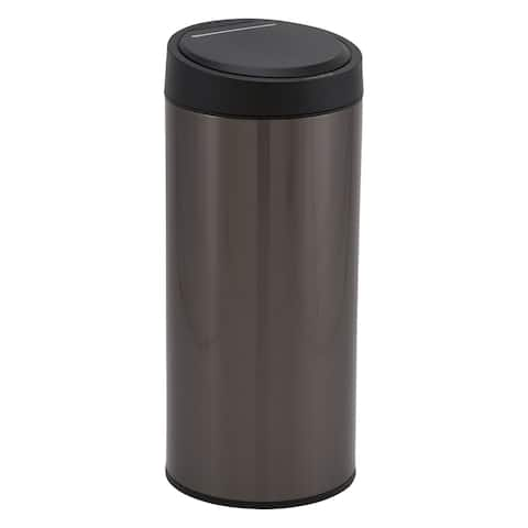 Design Trend Round Black Stainless Steel Touchless Trash Can Bin w/Automatic Soft Close Lid, 30 Liter/8 Gallon