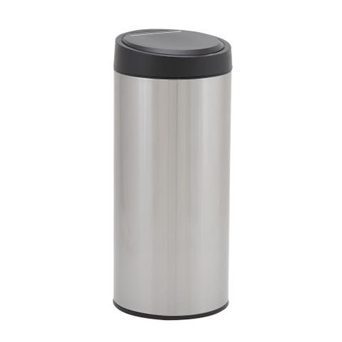 Design Trend Round Stainless Steel Touchless Trash Can Bin w/Automatic Soft Close Lid, 30 Liter/8 Gallon, Silver