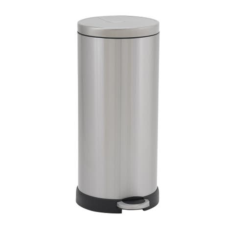 Design Trend Round Stainless Steel Step Trash Can Bin w/Soft Close Lid, 30 Liter/8 Gallon, Silver