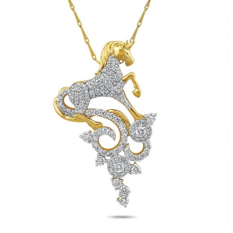 14k Yellow Gold 1ct. TDW Diamond Unicorn Necklace by Beverly Hills Charm