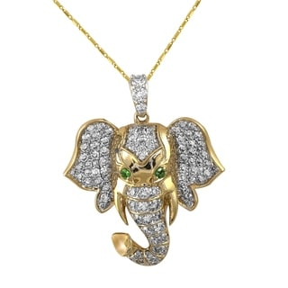14k Yellow Gold 1ct TDW Diamond And Tsavorite Elephant Necklace By Beverly Hills Charm