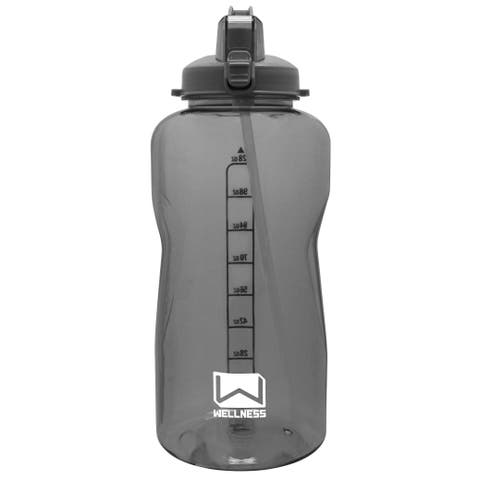 Giant Gallon Water Bottle with Carry Handle & Straw 128 oz. - Grey - 128 Oz.