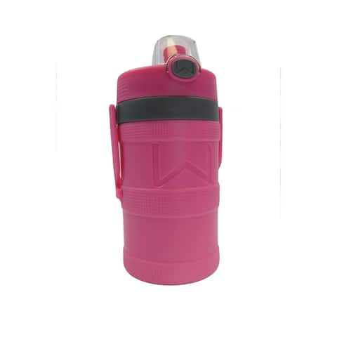 Wellness Foam Insulated Water Bottle with Carry Handle and Hook 64 oz. - Pink - 64 Oz.