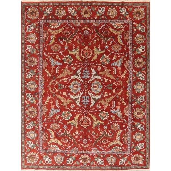 "Geometric Indo Heriz Serapi Oriental Area Rug Wool Hand-Knotted Carpet - 11'7"" x 8'11"""