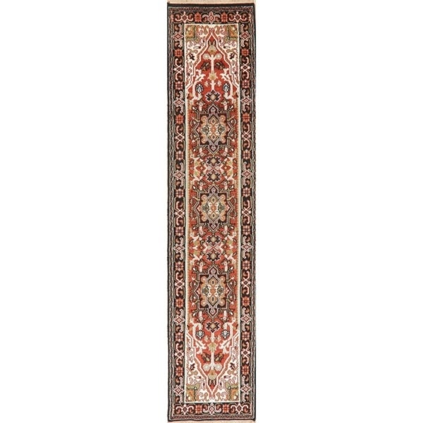 "Geometric 12 Ft Indo Heriz Oriental Rug Hand-Knotted Wool Carpet - 11'9"" x 2'6"" Runner"