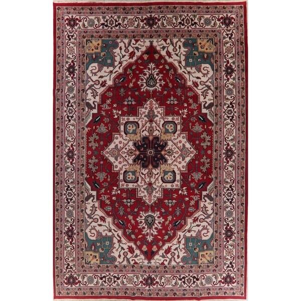 "Palace Geometric Indo Heriz Serapi Oriental Hand-Knotted Wool Area Rug - 17'8"" x 11'10"""