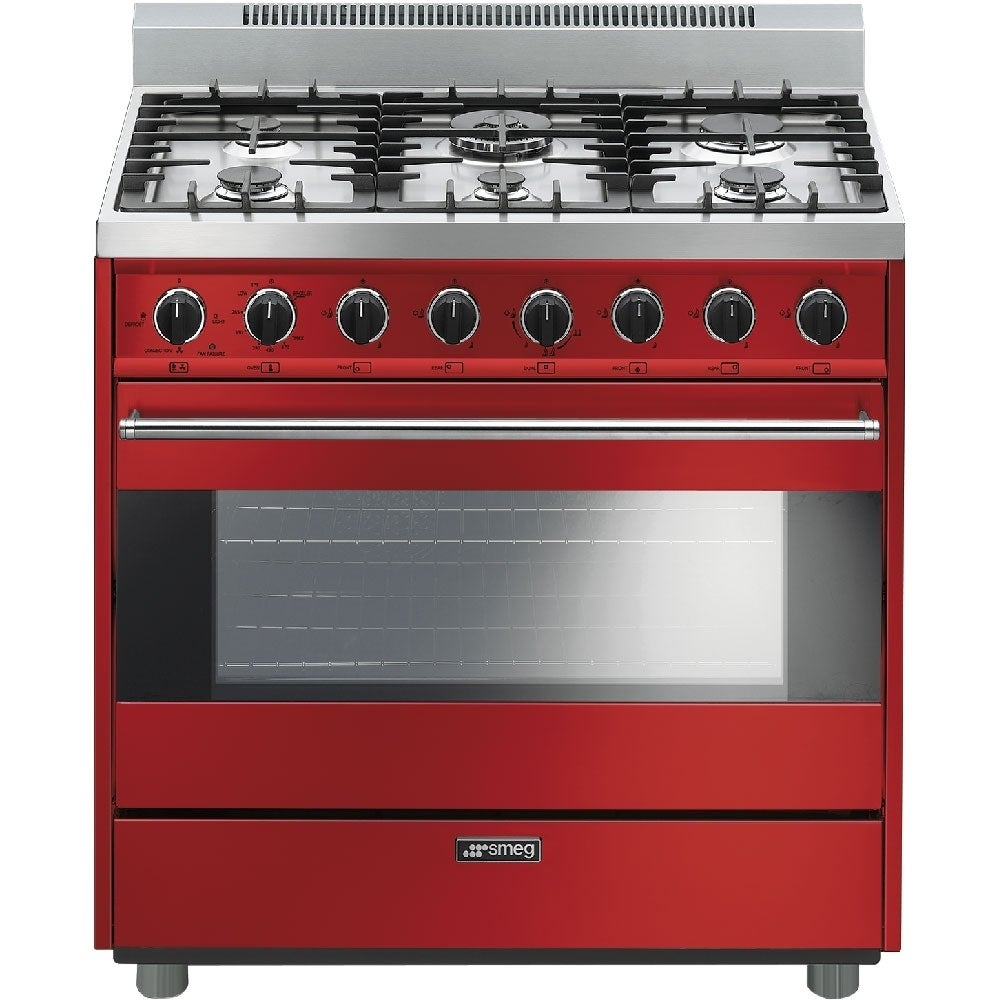 Smeg Free Standing Gas Range 36 Inches Red