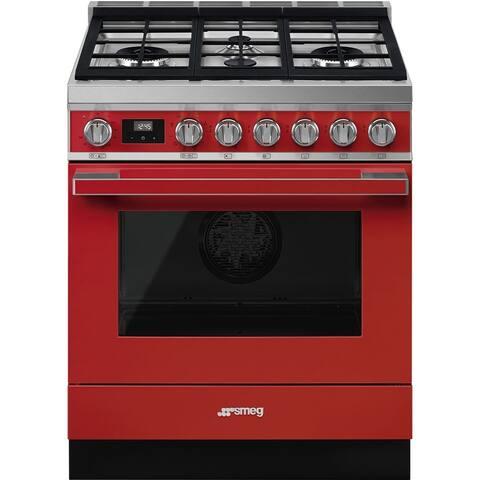 Smeg Portofino Pro-Style Dual Fuel Range Red 30 Inches