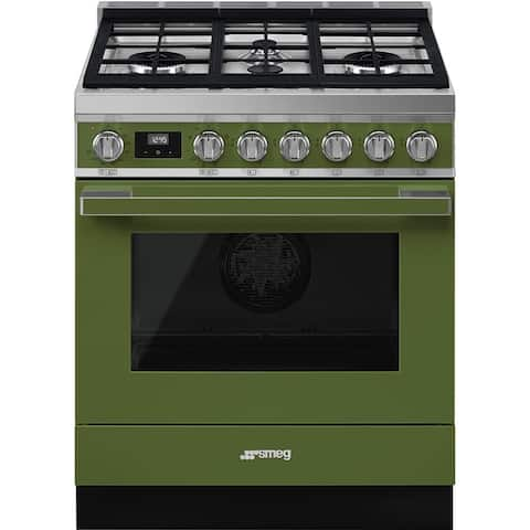 Smeg Portofino Pro-Style Dual Fuel Range Olive Green 30 Inches