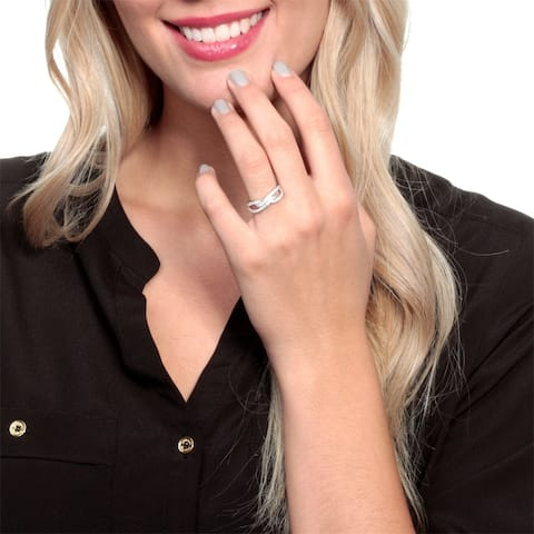 Cubic Zirconia Infinity Criss Cross Band Ring by Simon Frank Designs