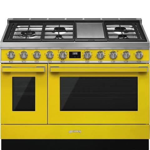 Smeg Portofino Pro-Style Dual Fuel Double Oven Range Yellow 48 Inch