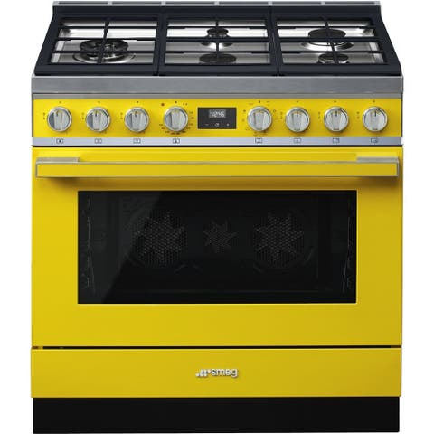 Smeg Portofino Pro-Style Dual Fuel Range Yellow 36 Inch