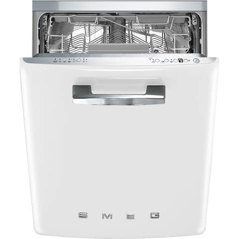 Smeg 50s Style Retro Aesthetic Under-Counter Dishwasher 24 Inch White - N/A