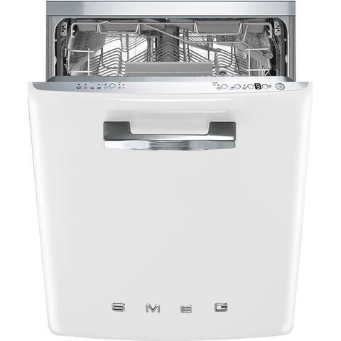 Smeg 50s Style Retro Aesthetic Under-Counter Dishwasher 24 Inch White