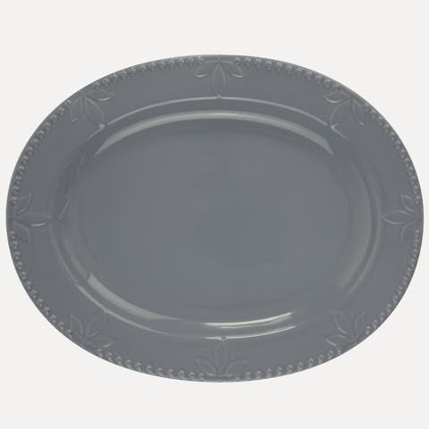 Signature Housewares Sorrento 14-Inch Oval Platter, Light Grey - N/A
