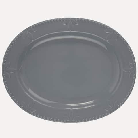 Signature Housewares Sorrento 14-Inch Oval Platter, Light Grey