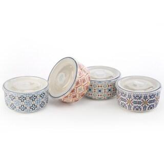Signature Housewares Set of Four Assorted 18-Ounce Storage Bowls, Design 4 - N/A