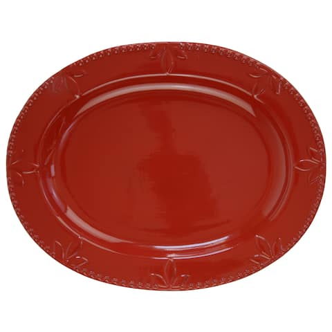 Signature Housewares Sorrento Oval 14-Inch Platter, Ruby - N/A