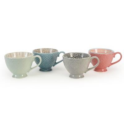 Signature Housewares Pad Print PP7 Set of 4 Assorted 14-ounce Mugs