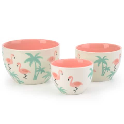 Signature Housewares Pink Flamingo 3-Piece Nesting Bowl Set - N/A