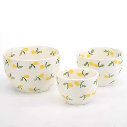 Signature Housewares Lemons 3-Piece Nesting Bowl Set - N/A