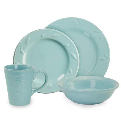 Signature Housewares Sorrento 4-Piece Placesetting, Aqua - N/A