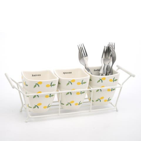 Signature Housewares Lemons 3-Piece Utensil Holder with Caddy - N/A