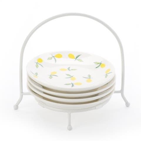 Signature Housewares Set of Four 6- Inch Lemon Plates with Caddy - N/A