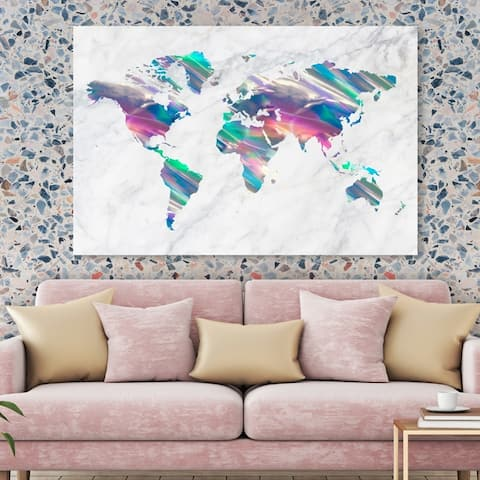Oliver Gal 'Mapamundi Holo Marble' Maps and Flags Wall Art Canvas Print - Blue, Gray