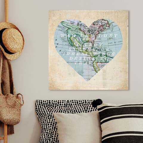 Oliver Gal 'To Travel' Maps and Flags Wall Art Canvas Print - Blue, Brown