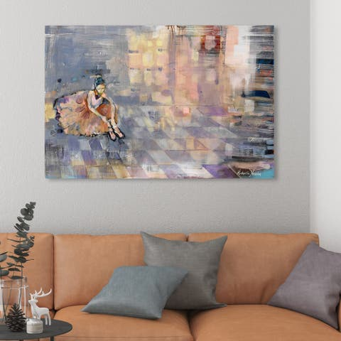 Oliver Gal 'Michaela Nessim - Ballerina' Sports and Teams Wall Art Canvas Print - Gray, Orange