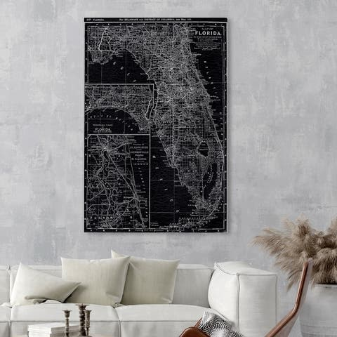 Oliver Gal 'Florida Map 1891' Maps and Flags Wall Art Canvas Print - Black, White