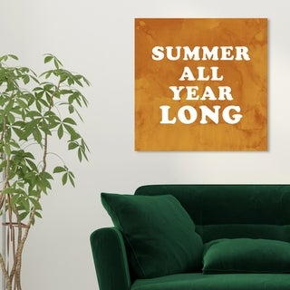 Oliver Gal 'Summer All Year Long' Typography and Quotes Wall Art Canvas Print - Orange, White