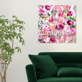 Oliver Gal 'Life is Beautiful' Floral and Botanical Wall Art Canvas Print - Pink, White