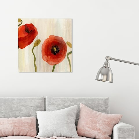 Oliver Gal 'Red Flowers II' Floral and Botanical Wall Art Canvas Print - Red, Green