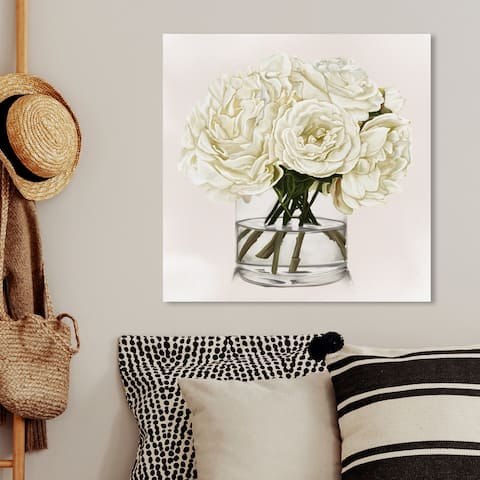 Oliver Gal 'White Floral' Floral and Botanical Wall Art Canvas Print - White, Green
