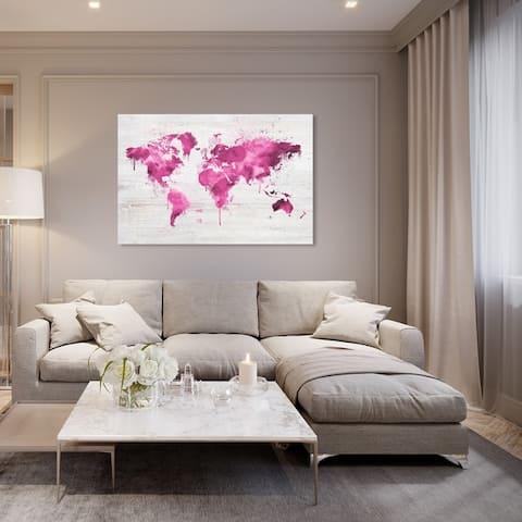 Oliver Gal 'Mapamundi Pink' Maps and Flags Wall Art Canvas Print - Pink, White