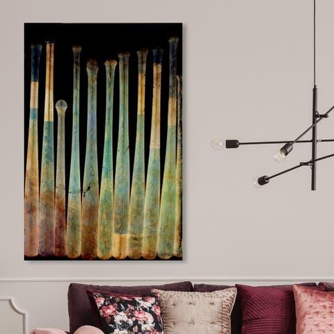 Oliver Gal 'Baseball Bat X-Ray' Sports and Teams Wall Art Canvas Print - Green, Black