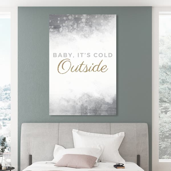 Oliver Gal Its So Cold Black And White Holiday And Seasonal Wall Art Canvas Print White Gold Overstock 28844732